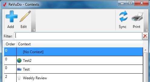 ReVuDo Contexts Window